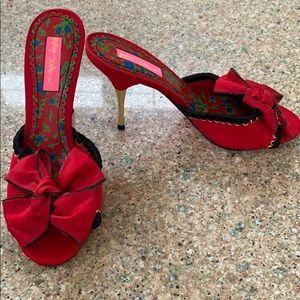 Betsy Johnson Red Satin Peep Toe Slide Stiletto